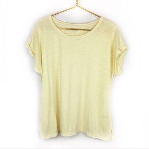Eileen Fisher Petite Light Yellow Short Sleeve Tee